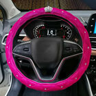 Winter Plush Car Steering Wheel Cover Bling Diamond Rhinestone Crown 38cm Luxury
