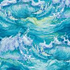 Nautical Fabric Lightkeepers Quilt Turbulent Ocean Wave Blue Studio E YARD