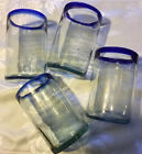A Set Of Four Mexican Glass Mouth Blown 16oz Tumblers Cobalt Rims Clear Body 5
