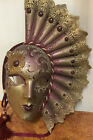 SIGNED Zerman Made in Italy Venetian Carnival Masquerade Mask Hand Made Painted