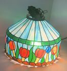 VTG Stained Glass Slag Glass Hanging Light Shade Tulip Garden One of a Kind