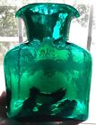 BLENKO 2002 EMERALD GREEN ART GLASS 8 WATER CARAFE BOTTLE JUG DOUBLE SPOUT
