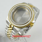 Two Tone Gold Watch Case fitNH35A NH36A Jubilee Bracelet Flat Sapphire Glass