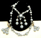 Rare Vintage Signed Miriam Haskell Blue Glass Necklace  Dangle Earring Set A24