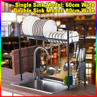 Stainless Steel Over Sink Kitchen Dish Rack Drying Drainer Tray Cutlery Holder