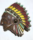VINTAGE NATIVE AMERICAN INDIAN CHIEF BROOCH CARVED WOOD LARGE STUD BROOCH PIN