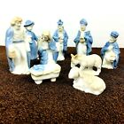 Vintage Kurt Adler Nativity Set 9 Pieces Blue White Porcelain Made Japan