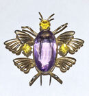 Sterling Art Deco glass belly insect bug fly fur clip