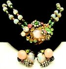 Rare Vintage Signed Miriam Haskell Pink Glass Rhinestone Necklace Earrings Set