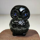 Natural Obsidian mineral raw stone hand carved owl