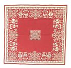 Oktoberfest Tablecloth German Vintage 36 Square Tablecloth Reversible Red White