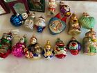 art xmas ornaments blown glass hand painted Lot of 15