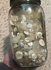 HUGE 25lb Lot White Cream Pearl Glass Vintage  Antique Buttons In Glass Jar