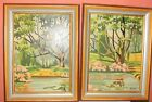 Vintage Paint by Number Garden Pools Pond Lilly Craft Master Framed art painting