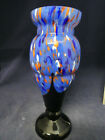 Vintage Art Deco Czech Bohemian Glass Vase blues orange yellow 10 1 2  hi