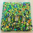 DICHROIC FUSED GLASS C0UNTRY MOSAIC IN GREEN SCULPTURE BY ARTIST CARTER