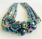 Vintage Multi Strand Peacock Carnival Glass Crystal Bead Necklace
