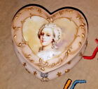 Vintage Pairpoint Glass Heart Shaped Dresser Box w Lid Marie Antoinette NICE