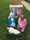 Vintage 4 Piece Blow Mold Nativity Set Empire Outdoor Lighted Original Box