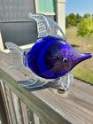 Murano Style Art Glass Fish Blue Striped Gold fleck 1050 Inches Long