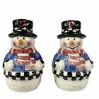 Snowman Christmas Salt Pepper Shaker Set Frosty Winter Vintage Scarf Sweater 4