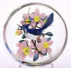 Glamorous RICK AYOTTE Blue Jay BIRD and Pink FLOWERS Art Glass PAPERWEIGHT