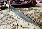 Huge Custom Hand Made Damascus Bowie Knife 165  with Leather
