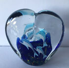 MURANO STYLE ART GLASS DOLPHIN HEART SHAPED SCULPTURE PAPERWEIGHT