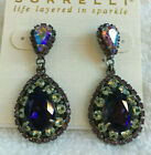 Sorrelli African Violet Purple Multi Statement Earrings antique silver tone