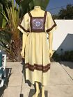 Vintage Chee Far Cotton Handmade Dress Thailand Sz Large Yellow Brown
