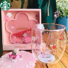 HOT 2019 Sakura 6oz Pink Starbucks Cat Cats Paw Double Wall Glass Cup Suit