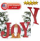 Outdoor Christmas Decoration Joy Yard Sign Sparkle Attachable Nativity Metal