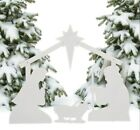 Outdoor Christmas Decoration White Silhouette Nativity Front Yard Church Metal