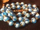 Vintage Blue Blown Art Glass Knotted Bead Necklace Filigree Estate Jewelry
