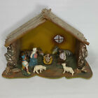 Vintage Christmas Nativity Scene Wooden Stable Manger Creche Made Italy 13 x 10