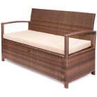 All Weather Deck Box UV Outdoor Storage Bench Pool Patio with Seat Cushion