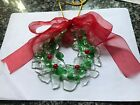 Art Glass Christmas Ornament Wreath Fused Glass