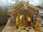 Wooden Stable Manger Nativity set with 18 figurines Christmas Decor