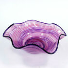 Hand Blown Art Glass Bowl Purple and Pink Swirl Footed Console Bowl Signed