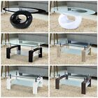 Modern Coffee Table Stable Glass  Wood W Shelf Storage Living Room Furniture