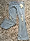 Hydraulic Metro Boot Flare Jeans Womens Sz 11 12 Long Light Blue Rips Super Low