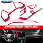 6x Red Dashboard Panel + Air Vent Outlet Frame Cover Combo For Honda Civic 16 19