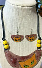 HALF MOON FUSED GLASS PENDANT EXTENDABLE CORD MATCHING EARRINGS