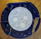 Fused Hand Blown Art Glass Large Platter Sculpture abstract blue space moon