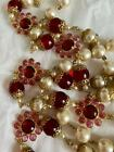 VINTAGE COUTURE CHANEL RED PINK GRIPOIX GLASS FLOWER PEARL NECKLACE