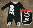 Nike Baby Boy Girl Newborn Footed Pajama Bib Booties Set Lot 0 3 Months Coverall