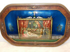 ANTIQUE CONVEX GLASS FRAMED REVERSE PAINTED RELIGIOUS SCENE