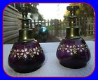 RARE OLD ANTIQUE PAIR AMETHYST PURPLE GLASS HAND PAINTED ENAMEL WHALE OIL LAMP