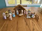 Nativity Set 16 Piece Hand Painted Ceramic Child like Figures Well Painted