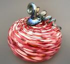 Large Hand Blown Glass Pumpkin in White Ruby Red and Silver Blue